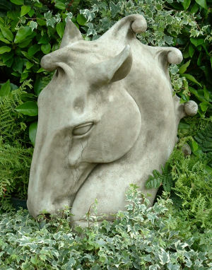 Equine horse head sculpture for the garden-left side