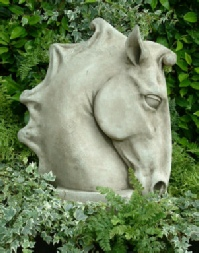 Equine horse head sculpture for the garden-right side
