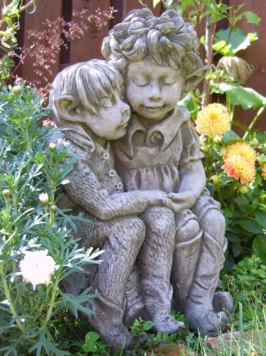 Dandelion and Burdock fairy statue for the garden