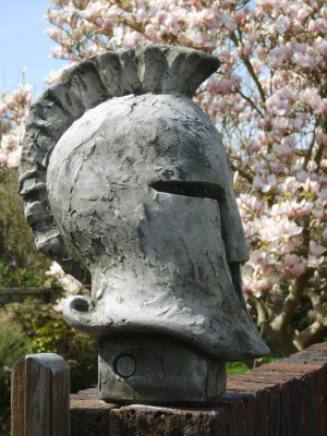 gothic stone sculpture in shape of a helmet