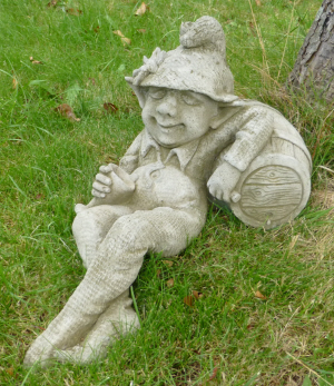Tipsy Pixie stone statue for the garden